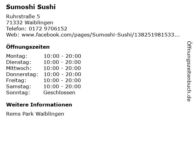Sumoshi Sushi in Waiblingen: Adresse und Öffnungszeiten