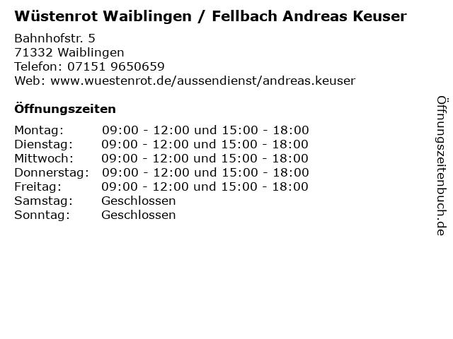 Wüstenrot Waiblingen / Fellbach Andreas Keuser in Waiblingen: Adresse und Öffnungszeiten