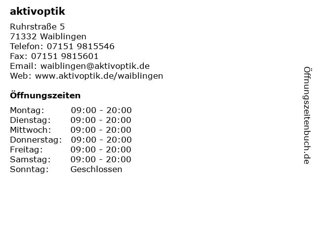 aktivoptik in Waiblingen: Adresse und Öffnungszeiten