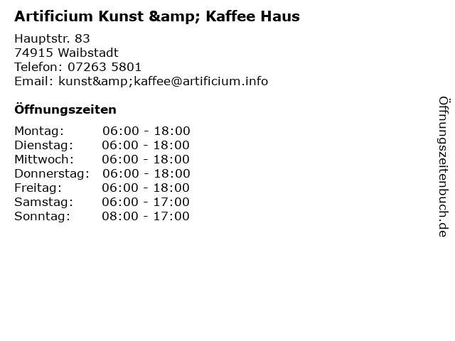 Artificium Kunst & Kaffee Haus in Waibstadt: Adresse und Öffnungszeiten