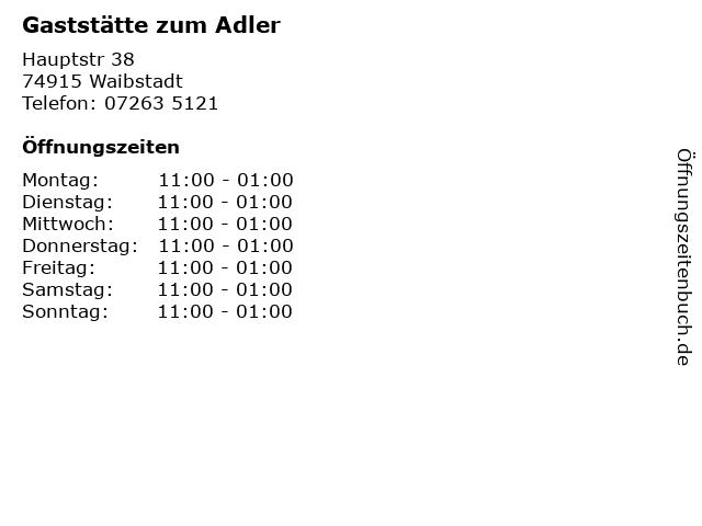 Gaststätte zum Adler in Waibstadt: Adresse und Öffnungszeiten
