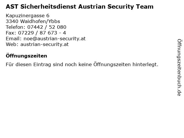 AST Sicherheitsdienst Austrian Security Team in Waidhofen/Ybbs: Adresse und Öffnungszeiten