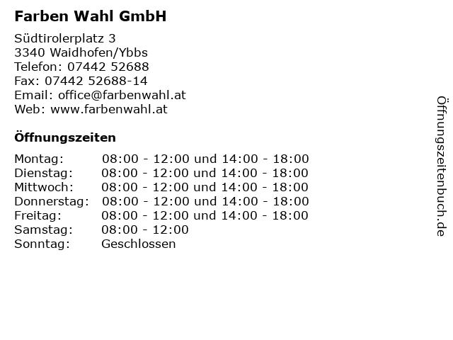 Farben Wahl GmbH in Waidhofen/Ybbs: Adresse und Öffnungszeiten