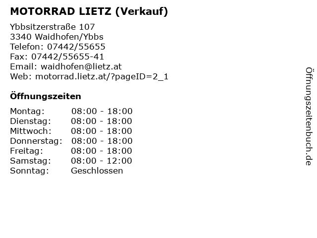 MOTORRAD LIETZ (Verkauf) in Waidhofen/Ybbs: Adresse und Öffnungszeiten