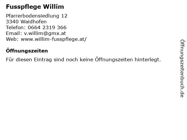 Fusspflege Willim in Waidhofen: Adresse und Öffnungszeiten