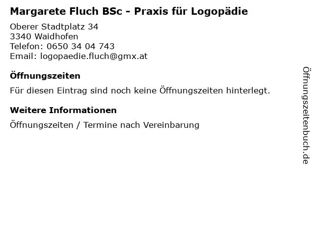 Margarete Fluch BSc - Praxis für Logopädie in Waidhofen: Adresse und Öffnungszeiten