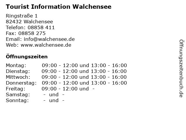 Tourist Information Walchensee in Walchensee: Adresse und Öffnungszeiten