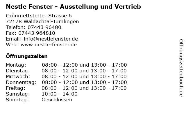 ᐅ Offnungszeiten Nestle Fenster Ausstellung Und Vertrieb Grunmettstetter Strasse 6 In Waldachtal Tumlingen