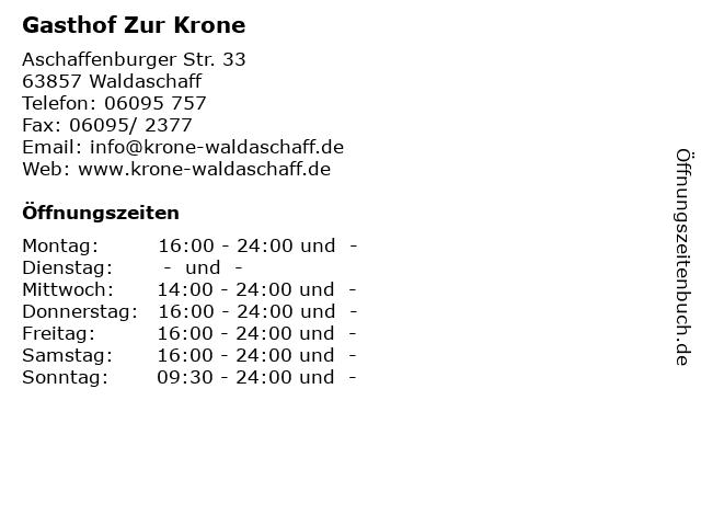 Gasthof Zur Krone in Waldaschaff: Adresse und Öffnungszeiten