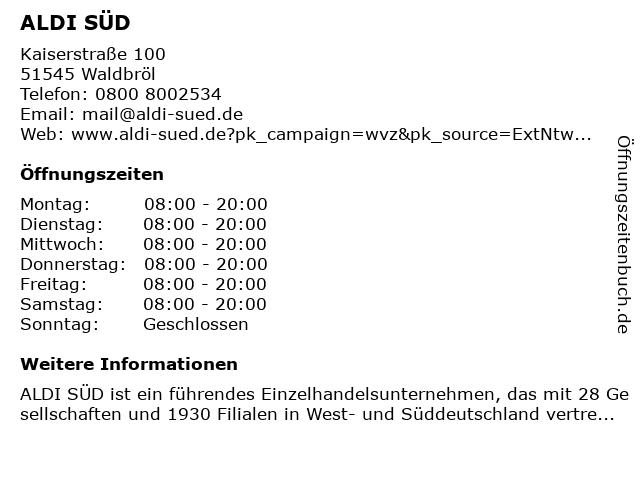ALDI SÜD in Waldbröl: Adresse und Öffnungszeiten
