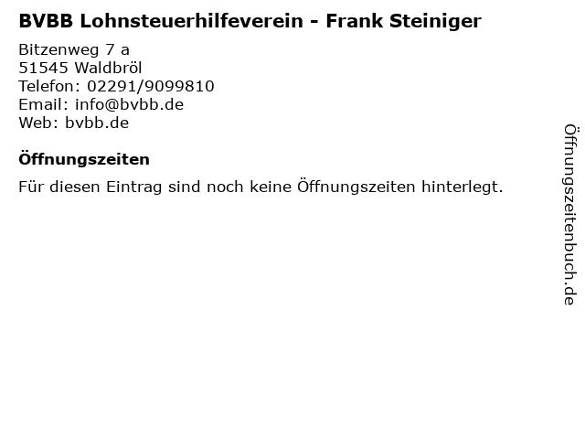 BVBB Lohnsteuerhilfeverein - Frank Steiniger in Waldbröl: Adresse und Öffnungszeiten