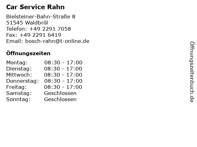 Car Service Rahn in Waldbröl: Adresse und Öffnungszeiten