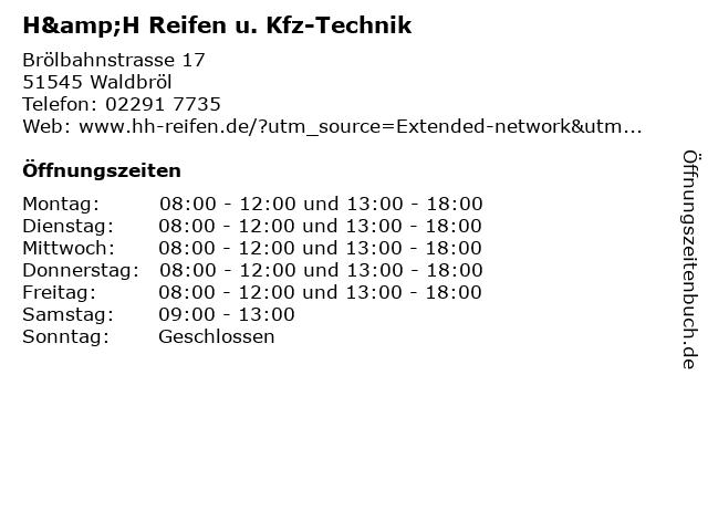 H&H Reifen u. Kfz-Technik in Waldbröl: Adresse und Öffnungszeiten