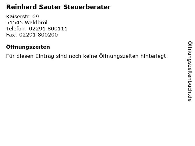 Reinhard Sauter Steuerberater in Waldbröl: Adresse und Öffnungszeiten