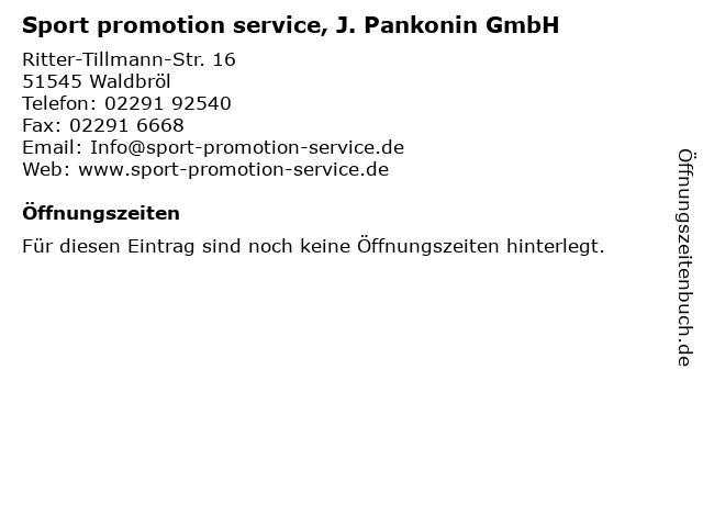 Sport promotion service, J. Pankonin GmbH in Waldbröl: Adresse und Öffnungszeiten