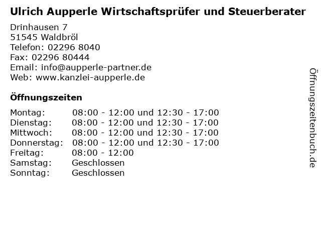 Ulrich Aupperle Wirtschaftsprüfer und Steuerberater in Waldbröl: Adresse und Öffnungszeiten