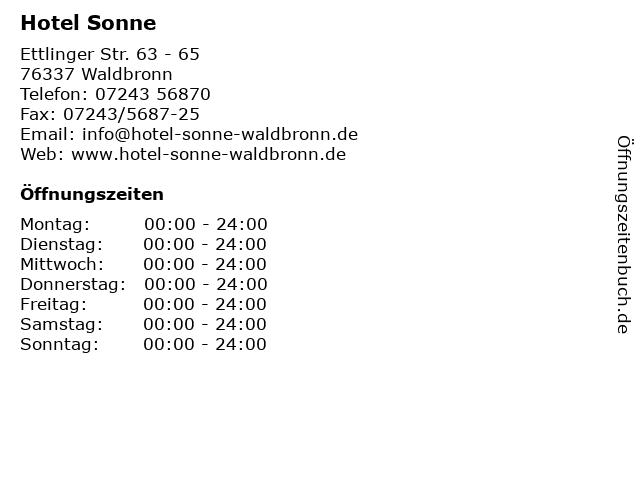 Hotel Sonne in Waldbronn: Adresse und Öffnungszeiten