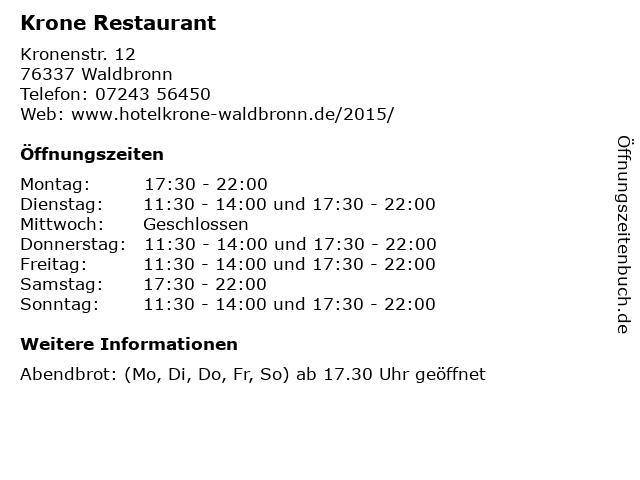 Krone Restaurant in Waldbronn: Adresse und Öffnungszeiten