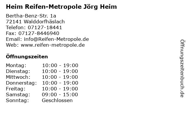Heim Reifen-Metropole Jörg Heim in Walddorfhäslach: Adresse und Öffnungszeiten