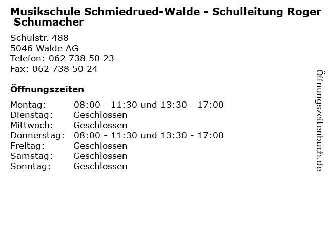 Musikschule Schmiedrued-Walde - Schulleitung Roger Schumacher in Walde AG: Adresse und Öffnungszeiten