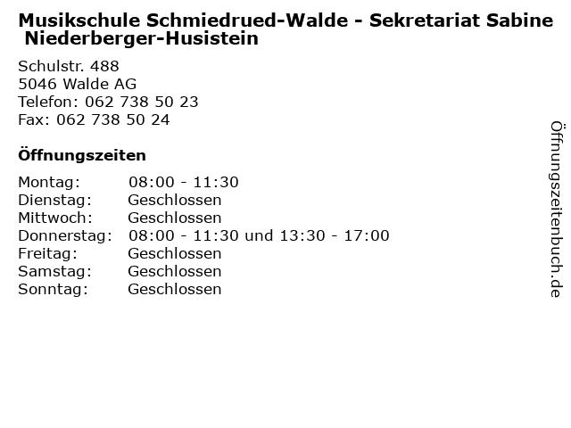 Musikschule Schmiedrued-Walde - Sekretariat Sabine Niederberger-Husistein in Walde AG: Adresse und Öffnungszeiten
