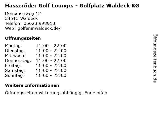 Hasseröder Golf Lounge. - Golfplatz Waldeck KG in Waldeck: Adresse und Öffnungszeiten