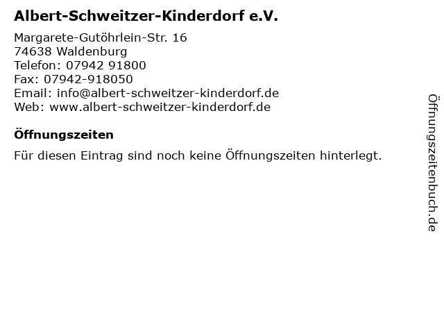 Albert-Schweitzer-Kinderdorf e.V. in Waldenburg: Adresse und Öffnungszeiten