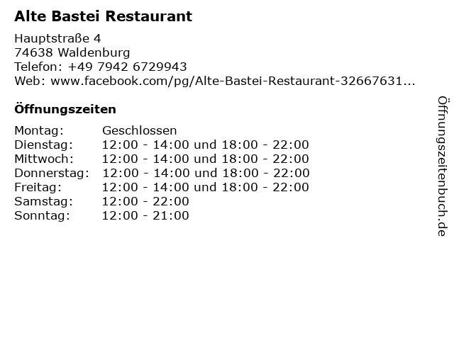 Alte Bastei Restaurant in Waldenburg: Adresse und Öffnungszeiten
