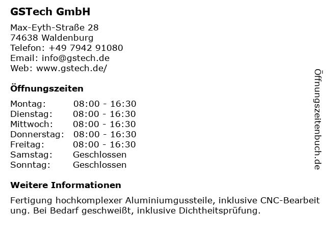 GSTech GmbH in Waldenburg: Adresse und Öffnungszeiten