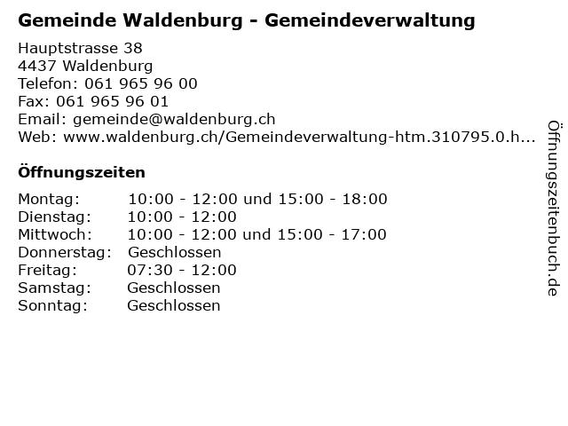 Gemeinde Waldenburg - Gemeindeverwaltung in Waldenburg: Adresse und Öffnungszeiten