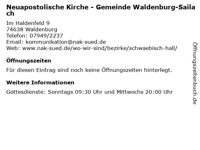 Neuapostolische Kirche - Gemeinde Waldenburg-Sailach in Waldenburg: Adresse und Öffnungszeiten