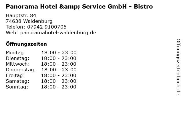 Panorama Hotel & Service GmbH - Bistro in Waldenburg: Adresse und Öffnungszeiten