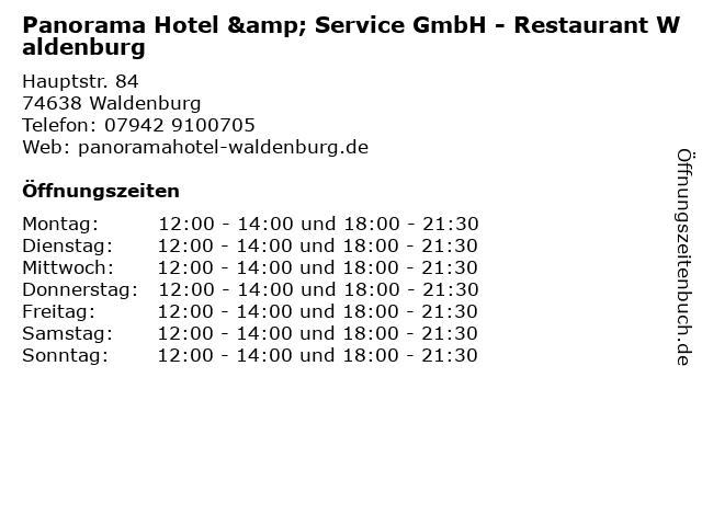 Panorama Hotel & Service GmbH - Restaurant Waldenburg in Waldenburg: Adresse und Öffnungszeiten