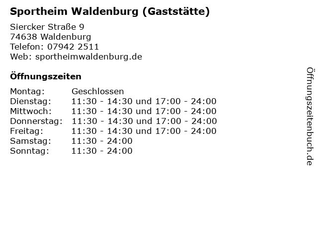 Sportheim Waldenburg (Gaststätte) in Waldenburg: Adresse und Öffnungszeiten