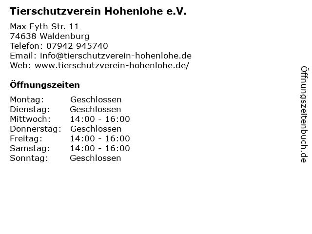 Tierschutzverein Hohenlohe e.V. in Waldenburg: Adresse und Öffnungszeiten