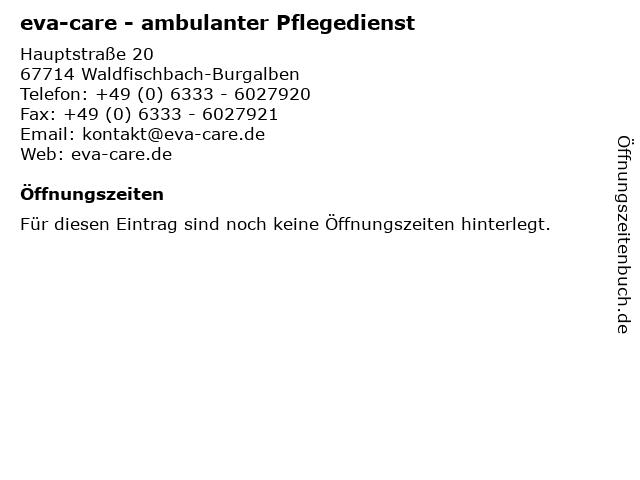 eva-care - ambulanter Pflegedienst in Waldfischbach-Burgalben: Adresse und Öffnungszeiten