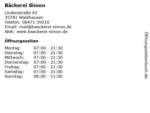 Bäckerei Simon in Waldhausen: Adresse und Öffnungszeiten