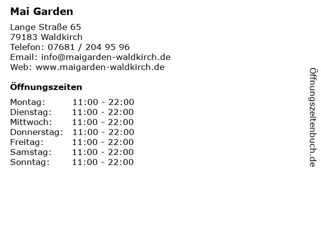 Mai Garden in Waldkirch: Adresse und Öffnungszeiten