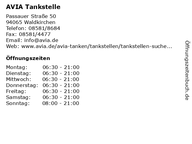 AVIA Tankstelle in Waldkirchen: Adresse und Öffnungszeiten