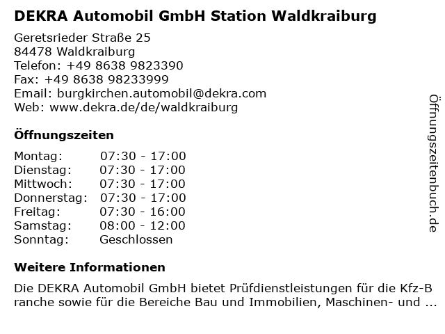 DEKRA Automobil GmbH Station Waldkraiburg in Waldkraiburg: Adresse und Öffnungszeiten