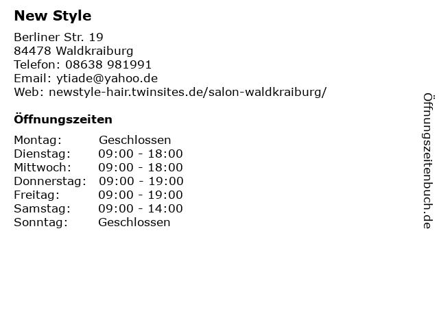 New Style in Waldkraiburg: Adresse und Öffnungszeiten