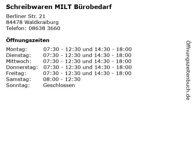 Schreibwaren MILT Bürobedarf in Waldkraiburg: Adresse und Öffnungszeiten