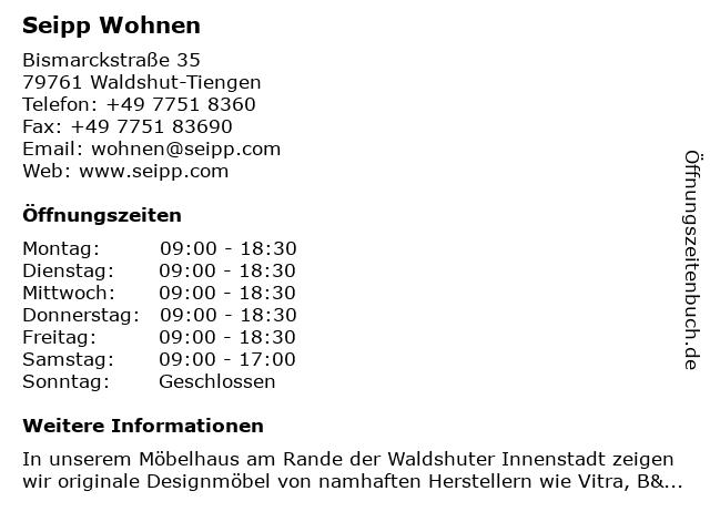 ᐅ öffnungszeiten Seipp Wohnen Bismarckstraße 35 In Waldshut Tiengen