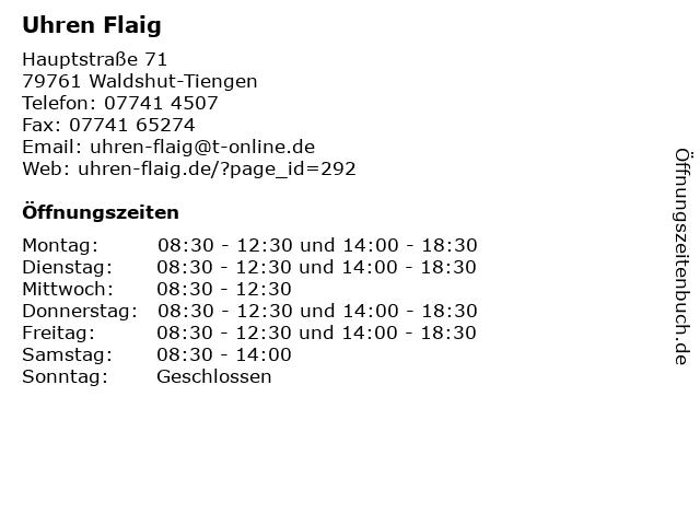 Uhren Flaig in Waldshut-Tiengen: Adresse und Öffnungszeiten