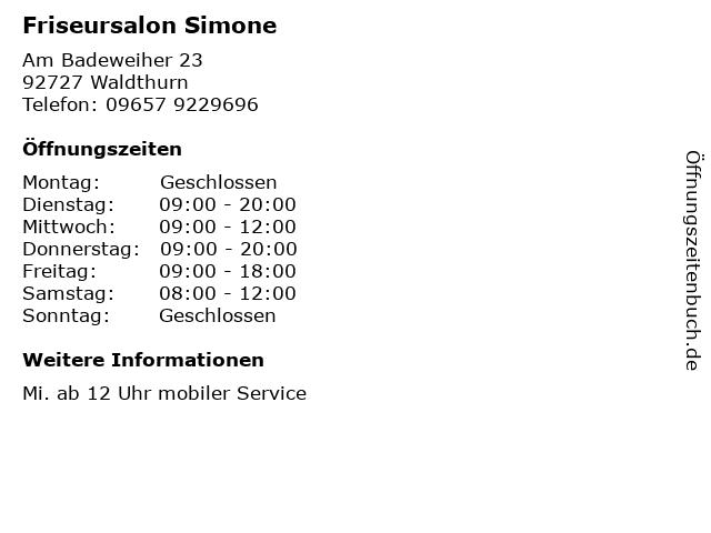 Friseursalon Simone in Waldthurn: Adresse und Öffnungszeiten