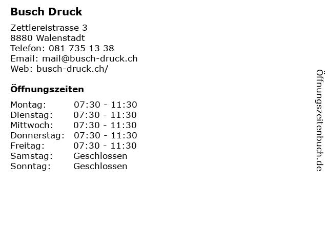 Busch Druck in Walenstadt: Adresse und Öffnungszeiten