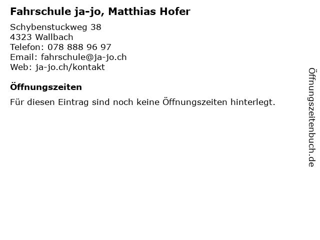 Fahrschule ja-jo, Matthias Hofer in Wallbach: Adresse und Öffnungszeiten