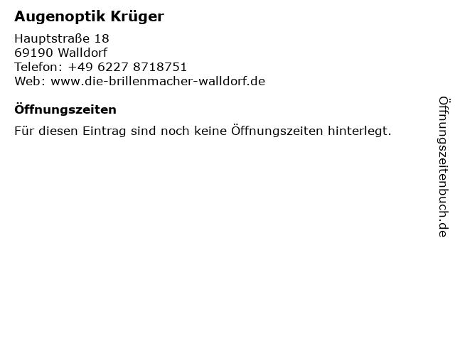 Augenoptik Krüger in Walldorf: Adresse und Öffnungszeiten