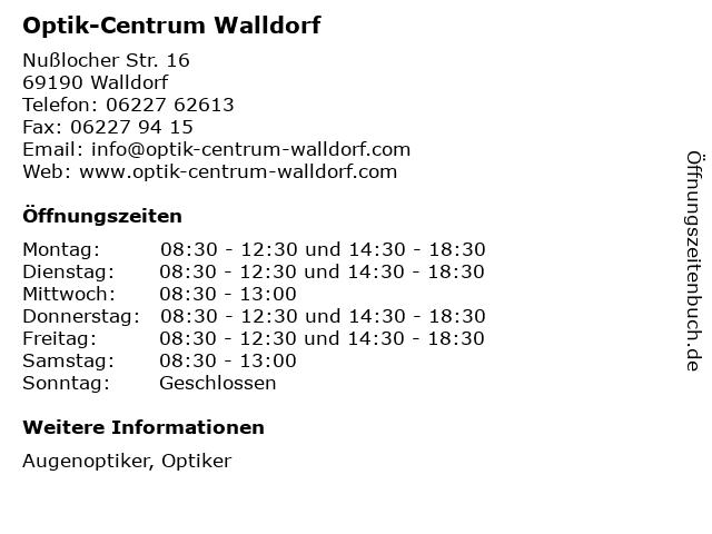 Optik-Centrum Walldorf in Walldorf: Adresse und Öffnungszeiten