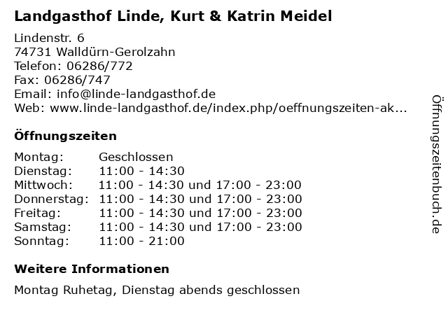 Landgasthof Linde, Kurt & Katrin Meidel in Walldürn-Gerolzahn: Adresse und Öffnungszeiten